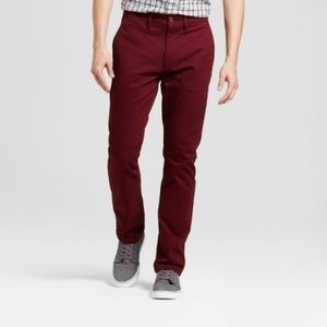 Men's Burgundy Slim Fit Hennepin Chino Pants